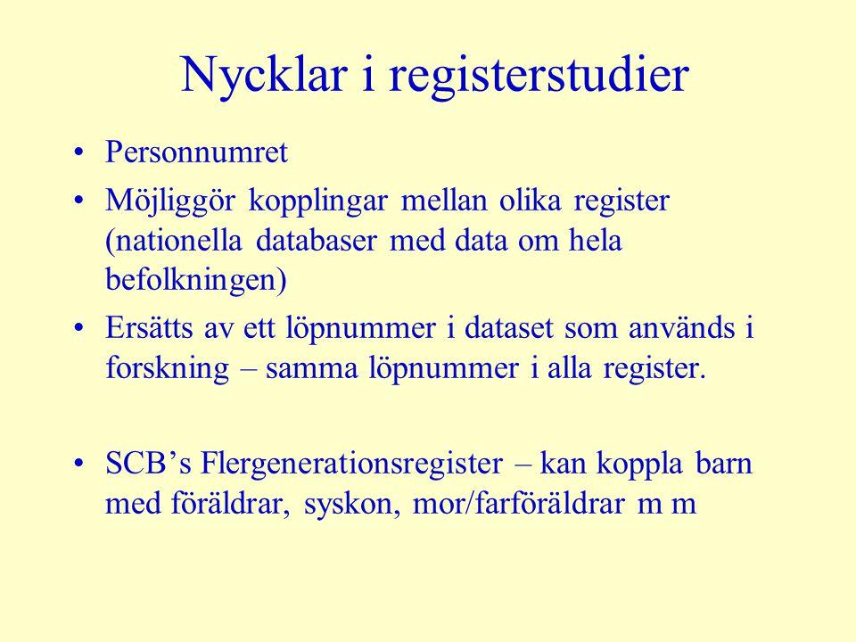 Nycklar i registerstudier