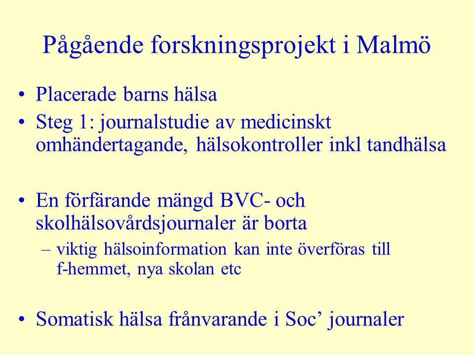 Pågående forskningsprojekt i Malmö