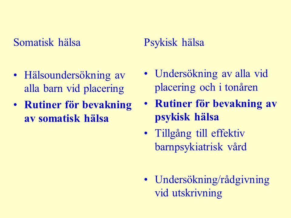 Somatisk hälsa Hälsoundersökning av alla barn vid placering. Rutiner för bevakning av somatisk hälsa.