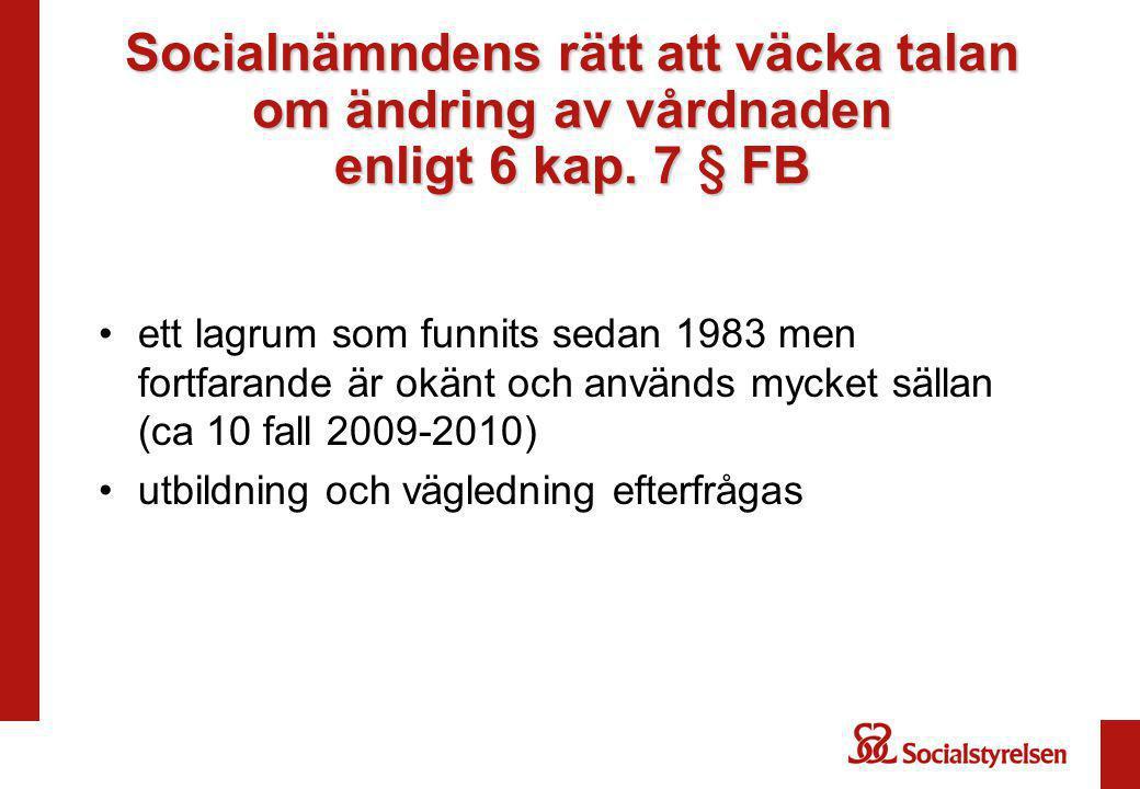 Socialnämndens rätt att väcka talan om ändring av vårdnaden enligt 6 kap. 7 § FB