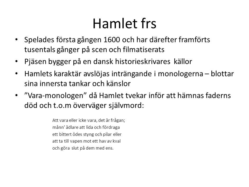 Hamlet frs Spelades första gången 1600 och har därefter framförts tusentals gånger på scen och filmatiserats.