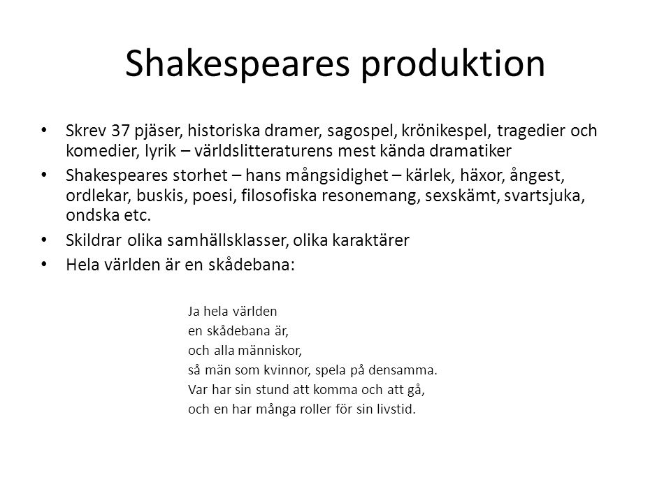 Shakespeares produktion