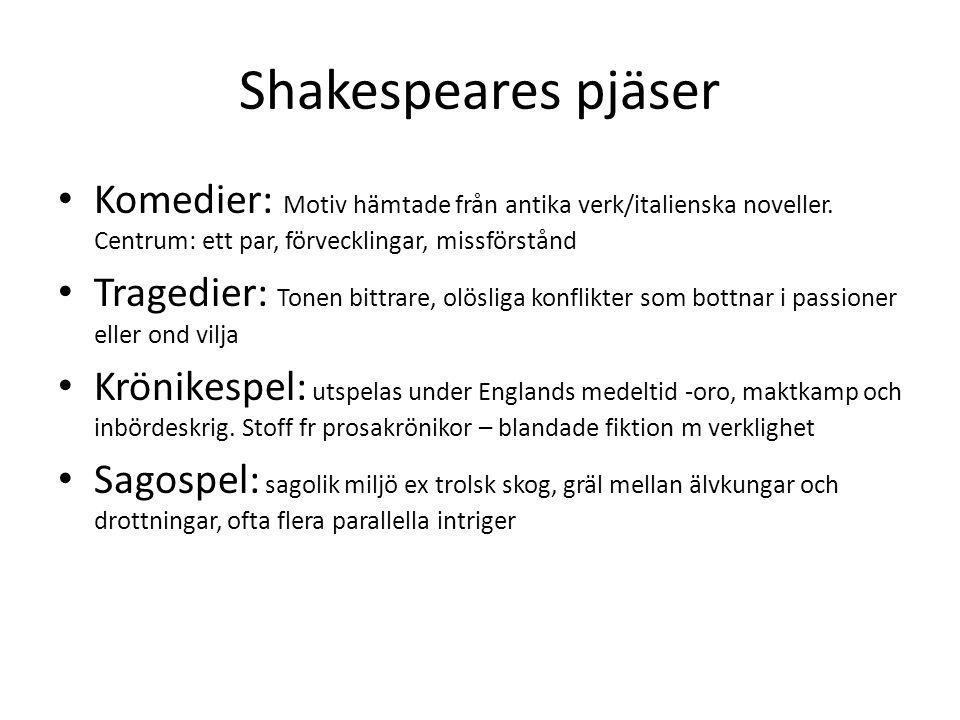 Shakespeares pjäser Komedier: Motiv hämtade från antika verk/italienska noveller. Centrum: ett par, förvecklingar, missförstånd.