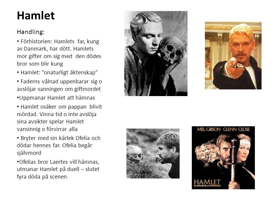 Hamlet Handling: Förhistorien: Hamlets far, kung av Danmark, har dött. Hamlets mor gifter om sig med den dödes bror som blir kung.