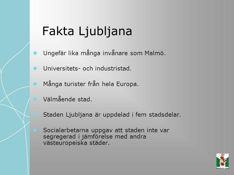 Fakta Ljubljana Ungefär lika många invånare som Malmö.
