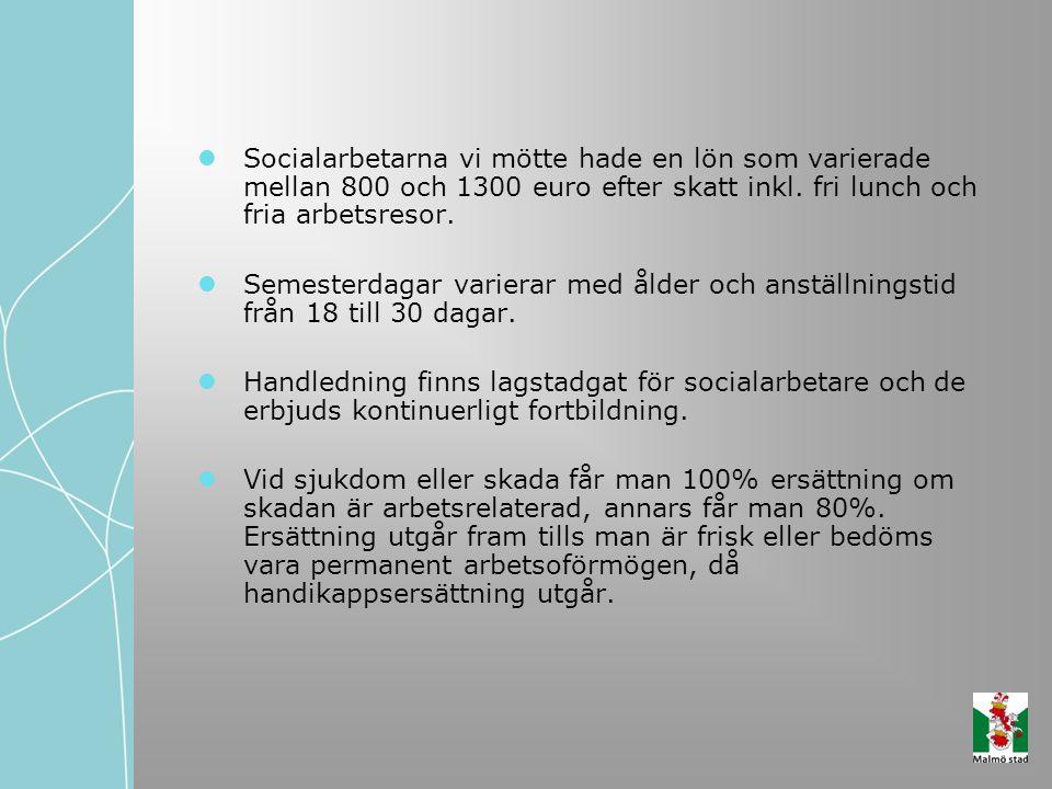 Socialarbetarna vi mötte hade en lön som varierade mellan 800 och 1300 euro efter skatt inkl. fri lunch och fria arbetsresor.