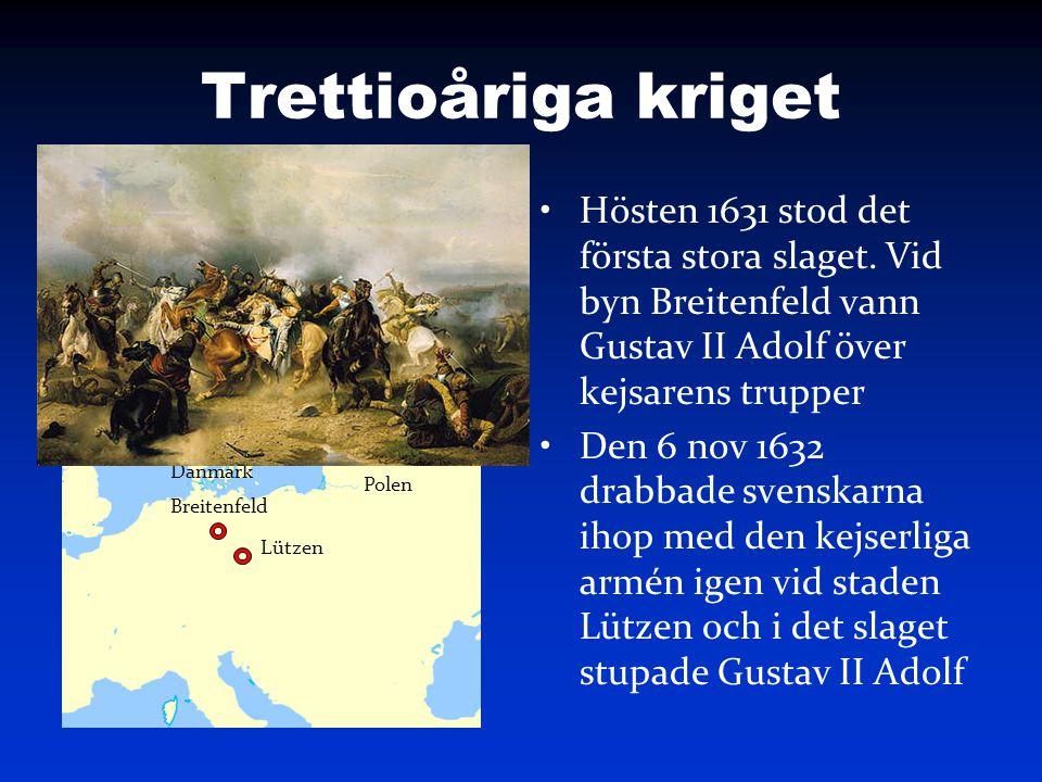 Trettioåriga kriget Hösten 1631 stod det första stora slaget. Vid byn Breitenfeld vann Gustav II Adolf över kejsarens trupper.