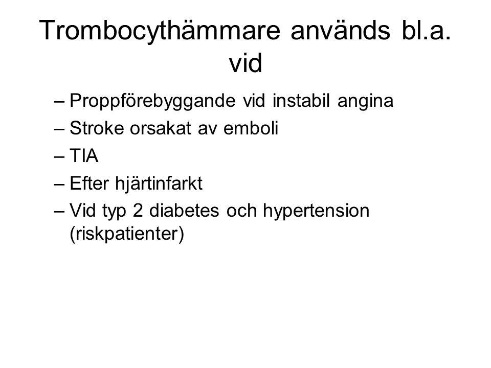 Trombocythämmare används bl.a. vid