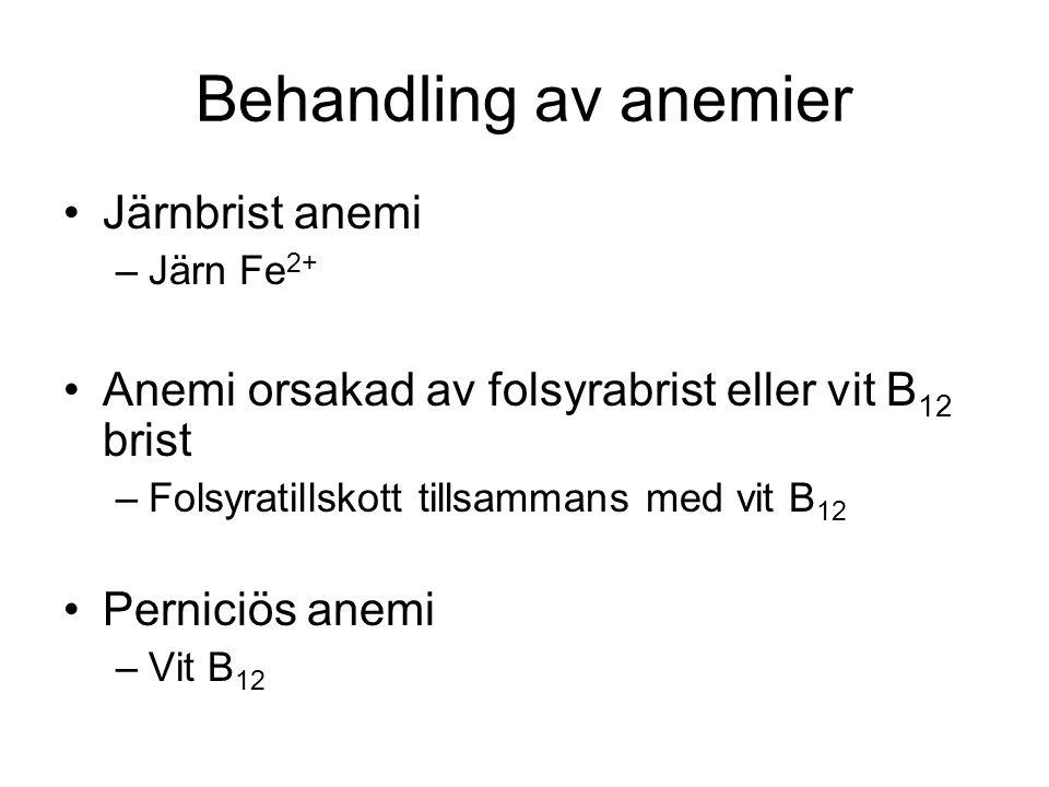 Behandling av anemier Järnbrist anemi