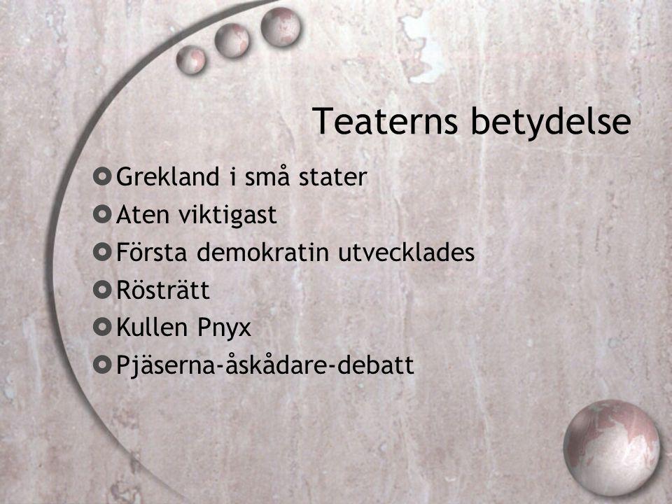 Teaterns betydelse Grekland i små stater Aten viktigast