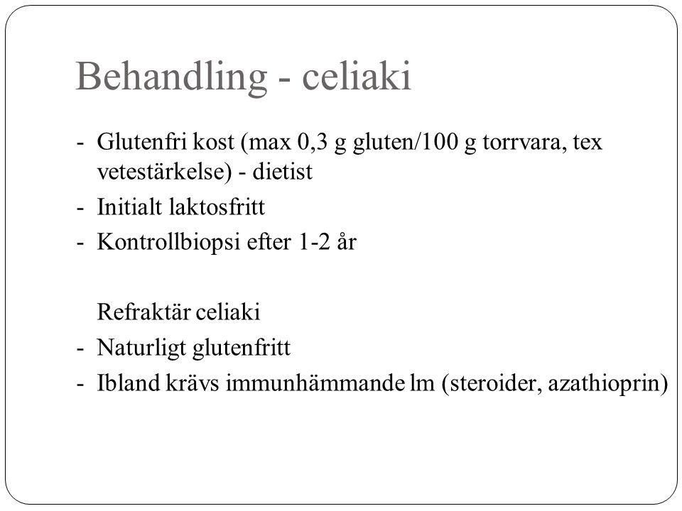 Behandling - celiaki - Glutenfri kost (max 0,3 g gluten/100 g torrvara, tex vetestärkelse) - dietist.