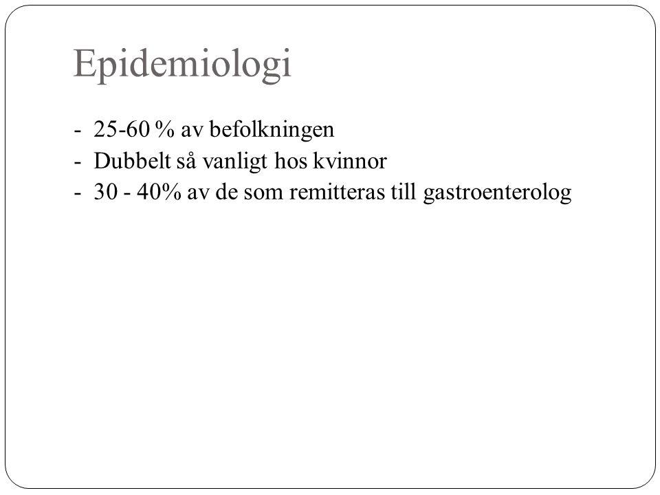 Epidemiologi - 25-60 % av befolkningen