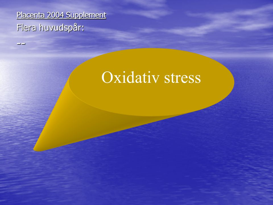 Placenta 2004 Supplement Flera huvudspår: -- Oxidativ stress