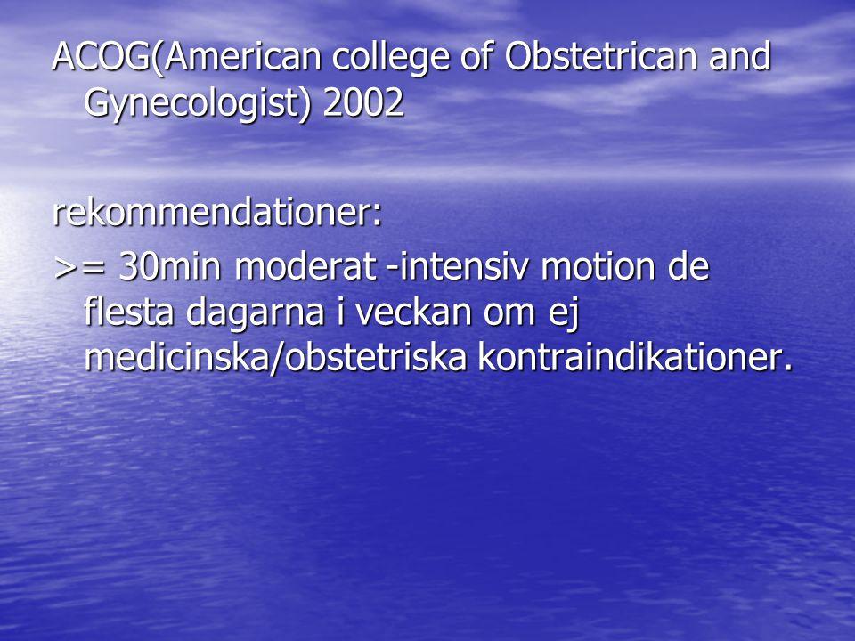 ACOG(American college of Obstetrican and Gynecologist) 2002 rekommendationer: >= 30min moderat -intensiv motion de flesta dagarna i veckan om ej medicinska/obstetriska kontraindikationer.