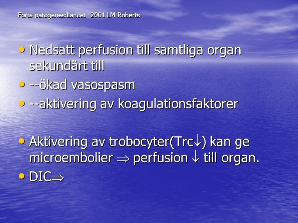 Nedsatt perfusion till samtliga organ sekundärt till --ökad vasospasm