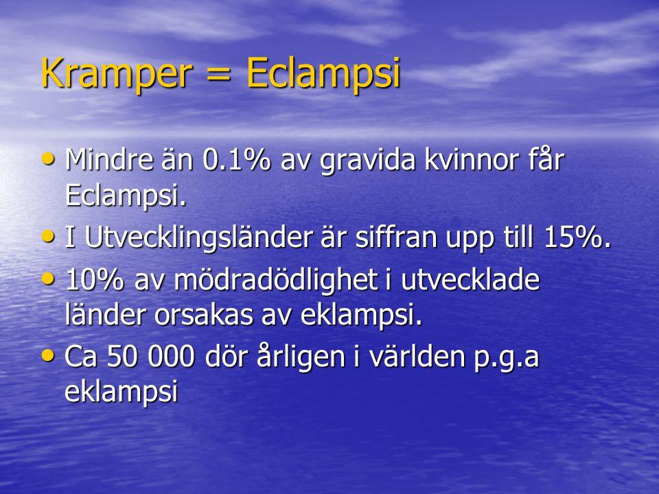 Kramper = Eclampsi Mindre än 0.1% av gravida kvinnor får Eclampsi.