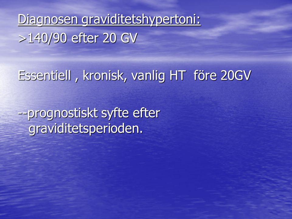 Diagnosen graviditetshypertoni: >140/90 efter 20 GV Essentiell , kronisk, vanlig HT före 20GV --prognostiskt syfte efter graviditetsperioden.