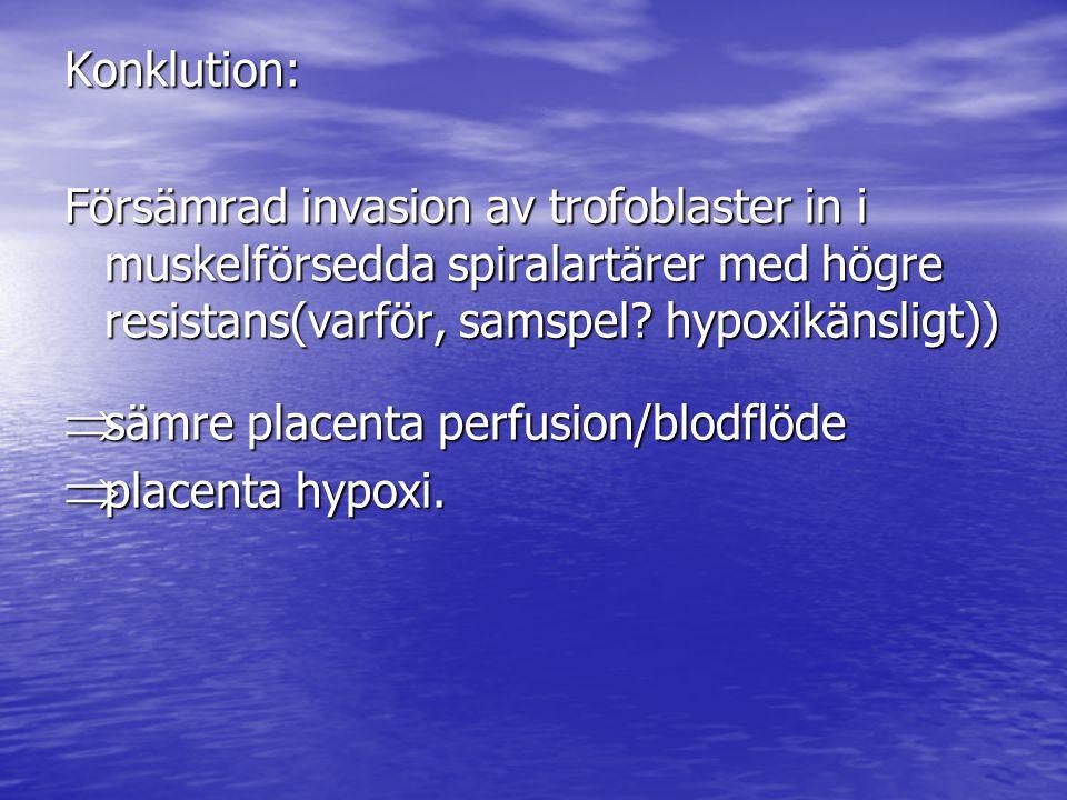 Konklution: Försämrad invasion av trofoblaster in i muskelförsedda spiralartärer med högre resistans(varför, samspel hypoxikänsligt))
