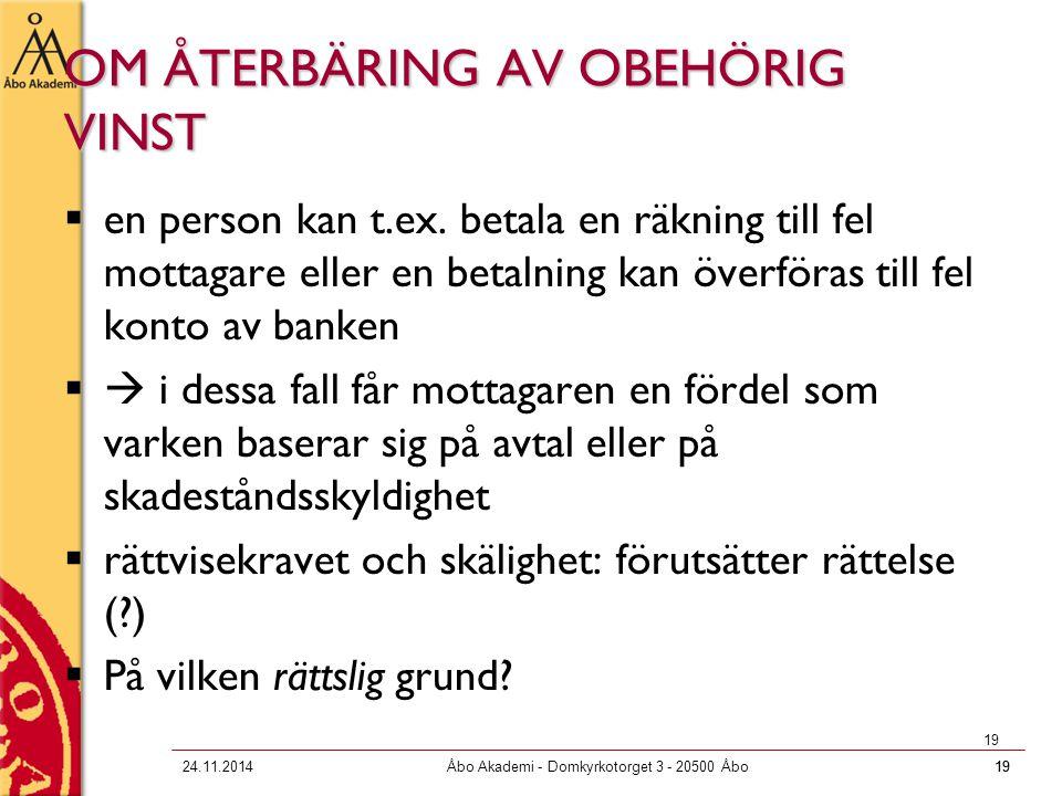 OM ÅTERBÄRING AV OBEHÖRIG VINST