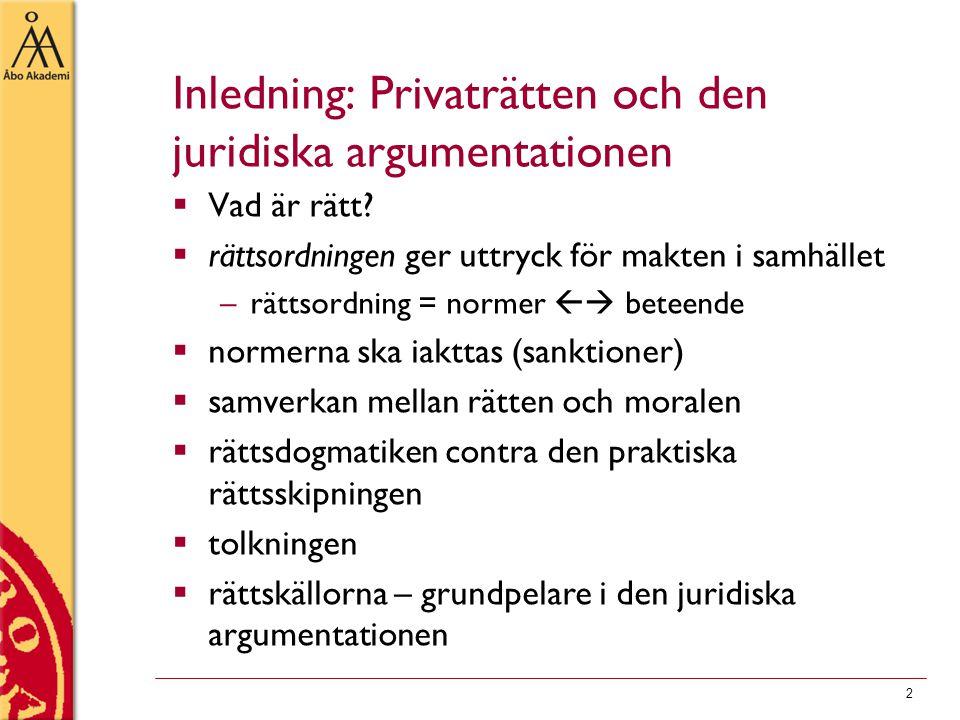 Inledning: Privaträtten och den juridiska argumentationen