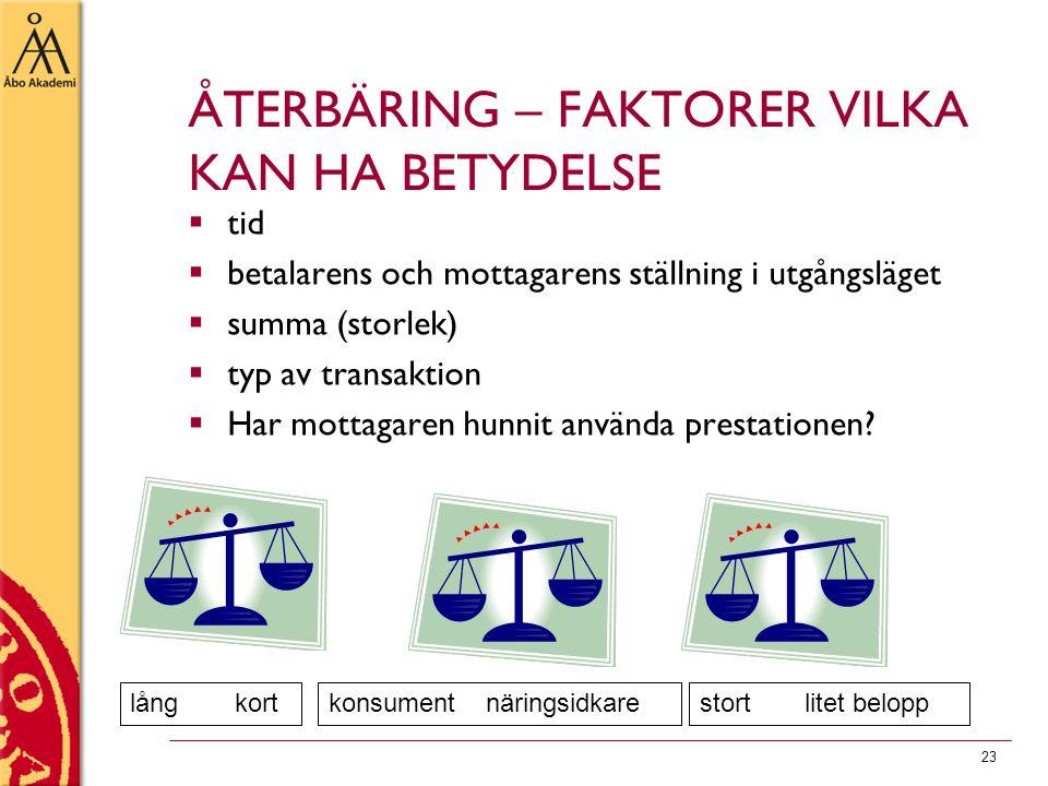 ÅTERBÄRING – FAKTORER VILKA KAN HA BETYDELSE