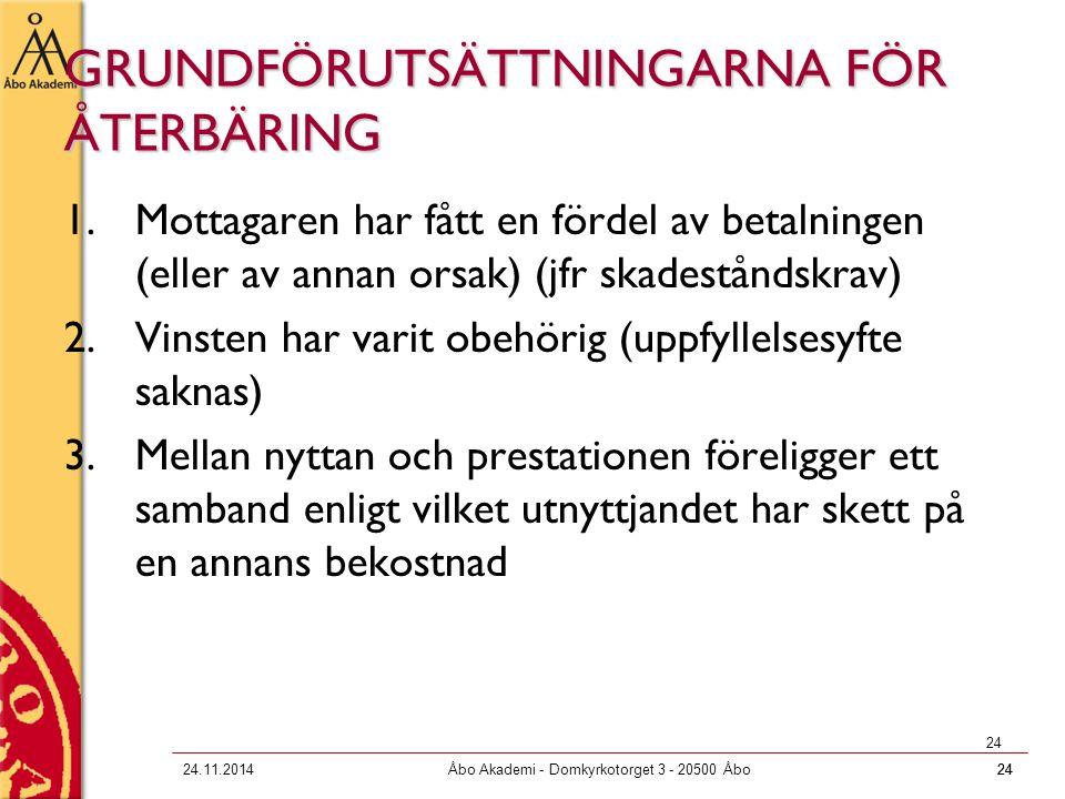 GRUNDFÖRUTSÄTTNINGARNA FÖR ÅTERBÄRING