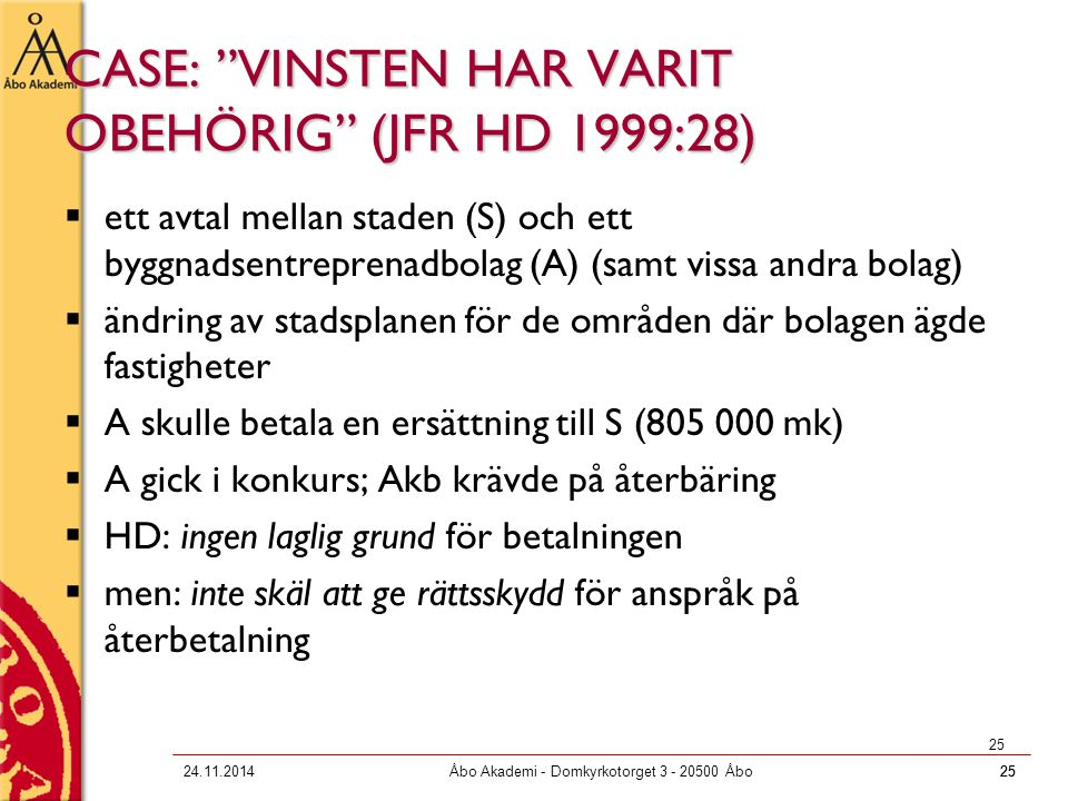 CASE: VINSTEN HAR VARIT OBEHÖRIG (JFR HD 1999:28)
