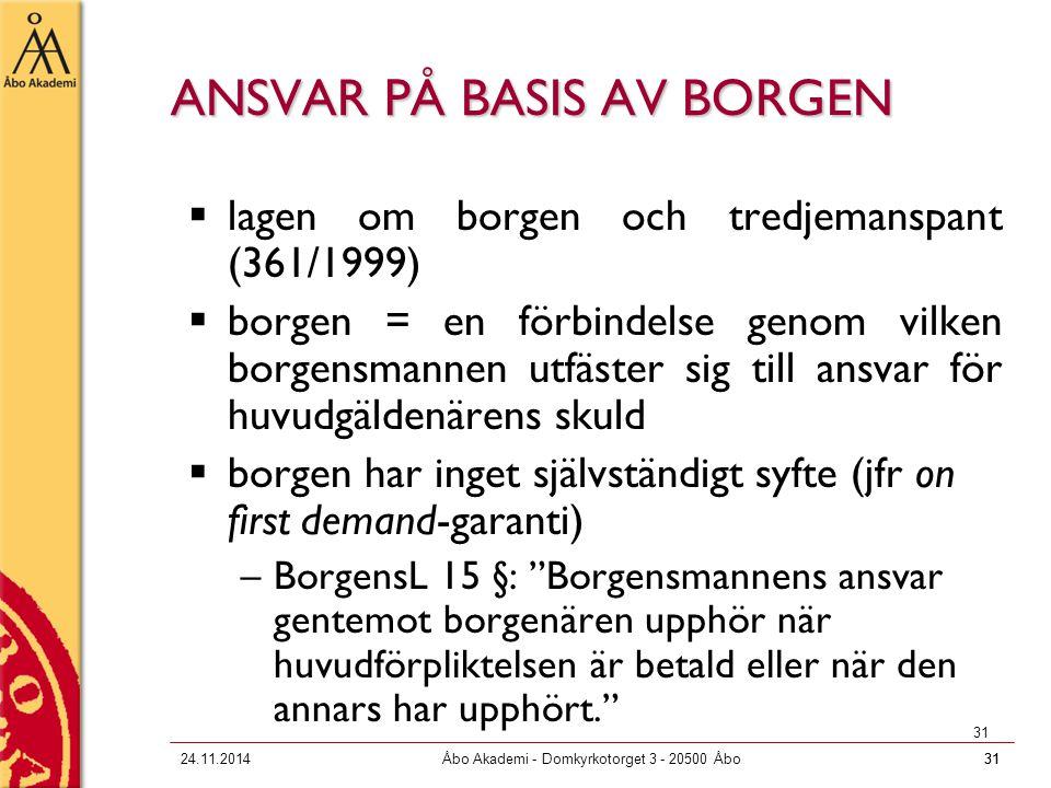 ANSVAR PÅ BASIS AV BORGEN
