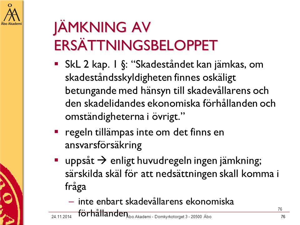 JÄMKNING AV ERSÄTTNINGSBELOPPET