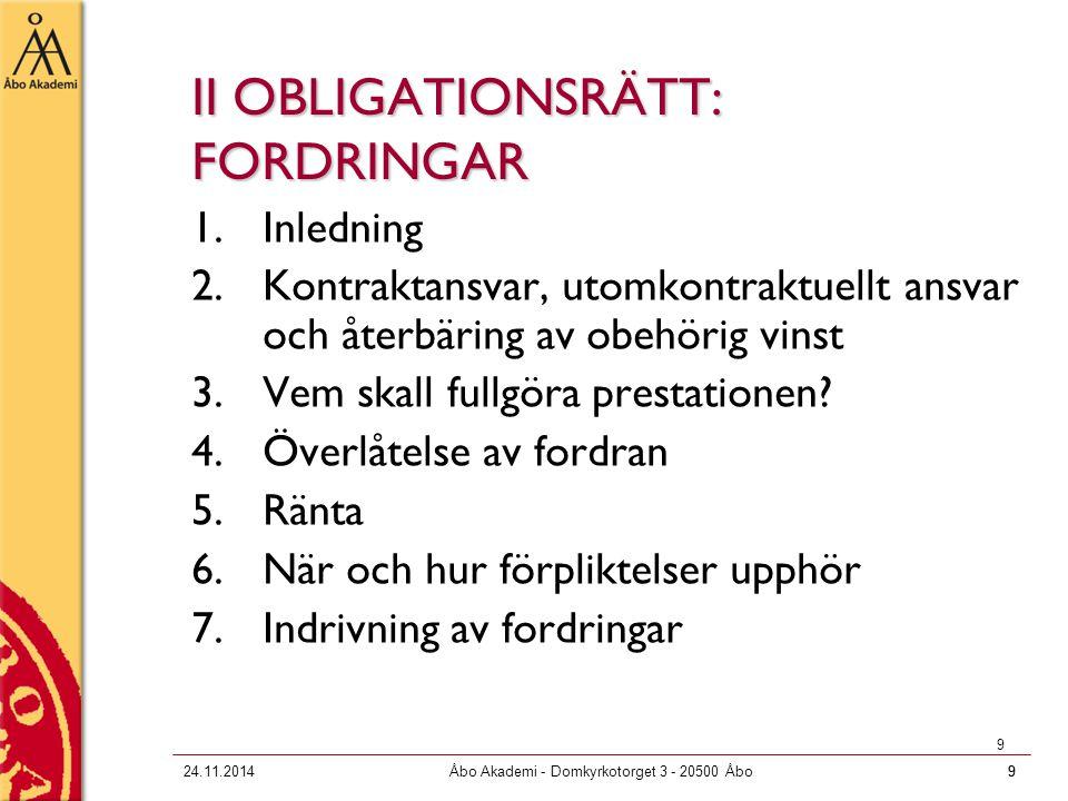 II OBLIGATIONSRÄTT: FORDRINGAR
