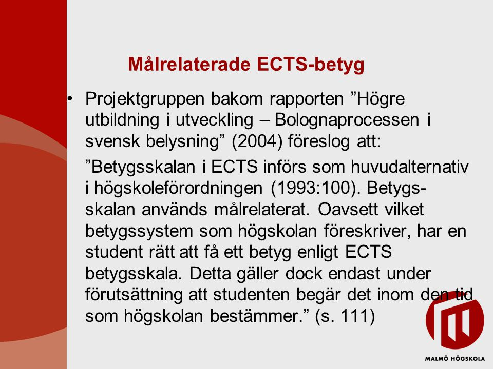 Målrelaterade ECTS-betyg