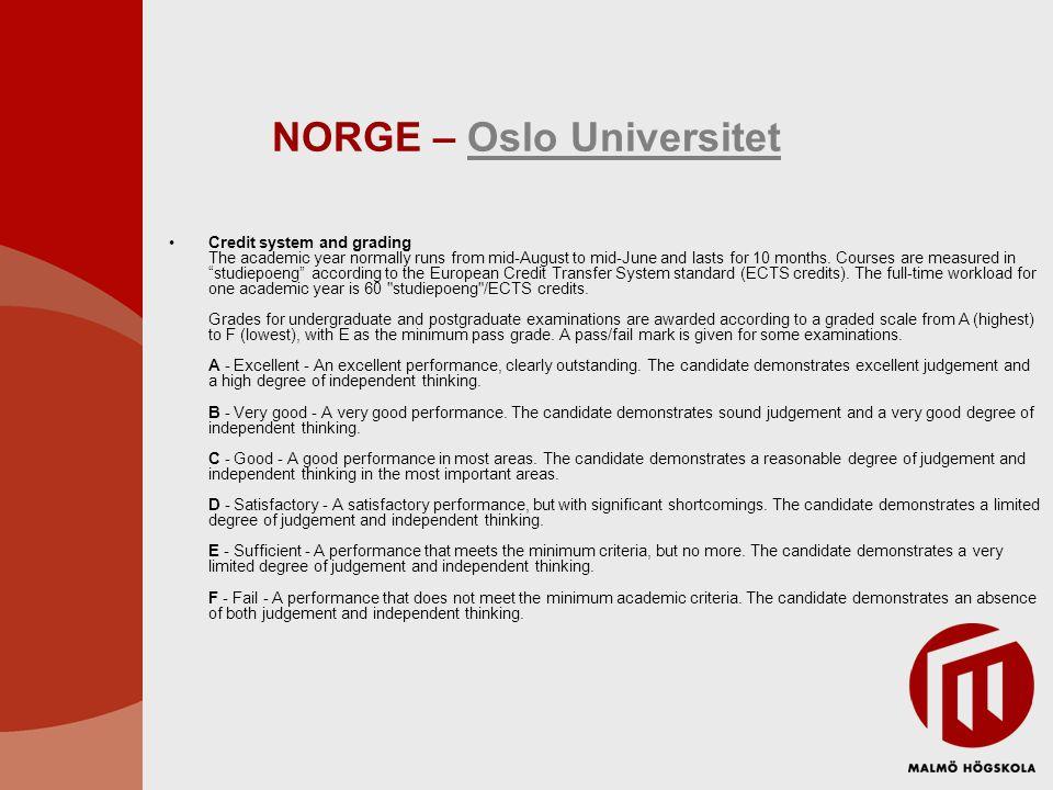 NORGE – Oslo Universitet