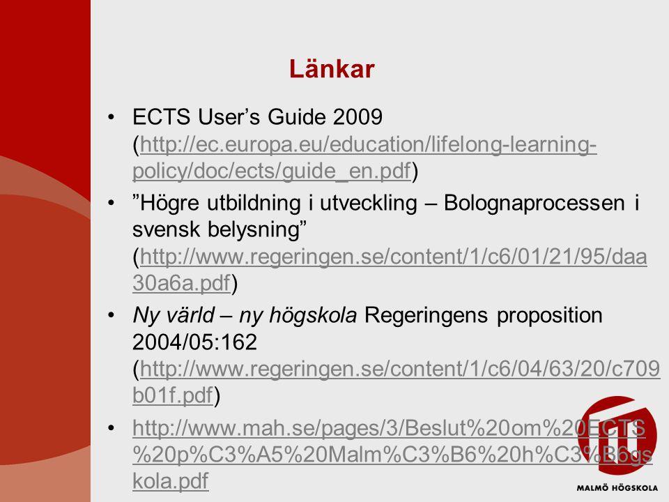 Länkar ECTS User's Guide 2009 (http://ec.europa.eu/education/lifelong-learning-policy/doc/ects/guide_en.pdf)