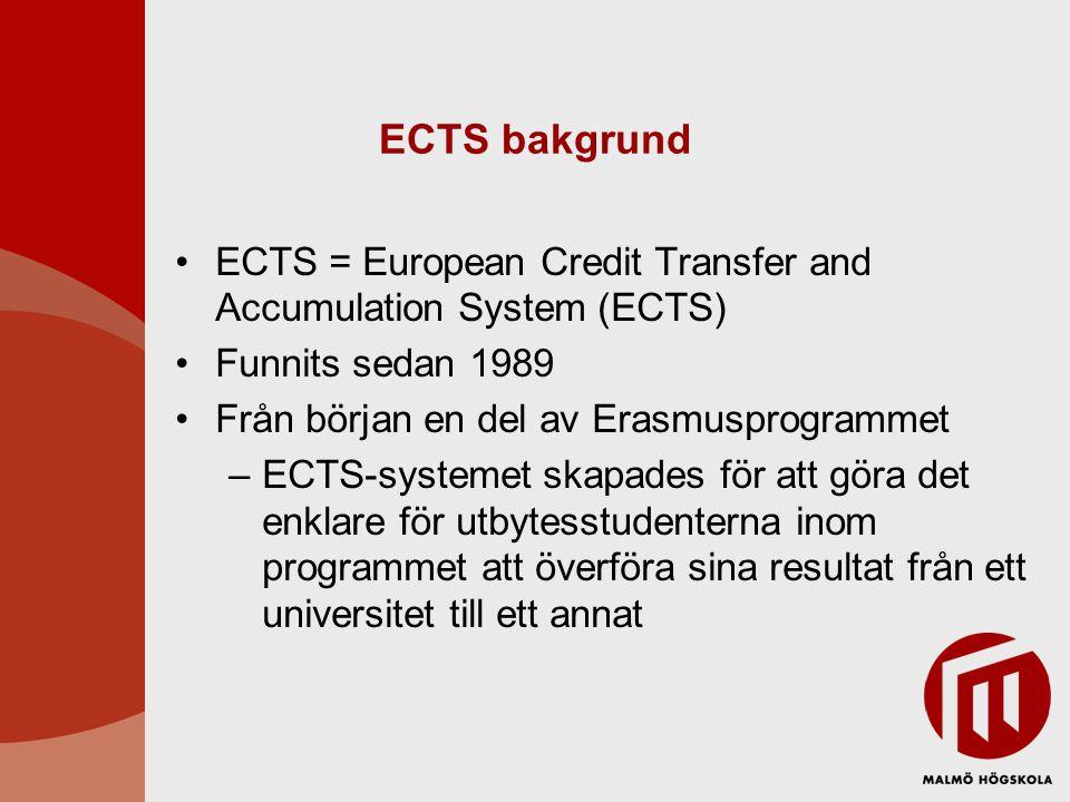 ECTS bakgrund ECTS = European Credit Transfer and Accumulation System (ECTS) Funnits sedan 1989. Från början en del av Erasmusprogrammet.