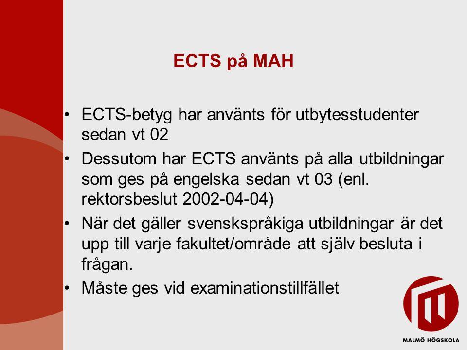 ECTS på MAH ECTS-betyg har använts för utbytesstudenter sedan vt 02