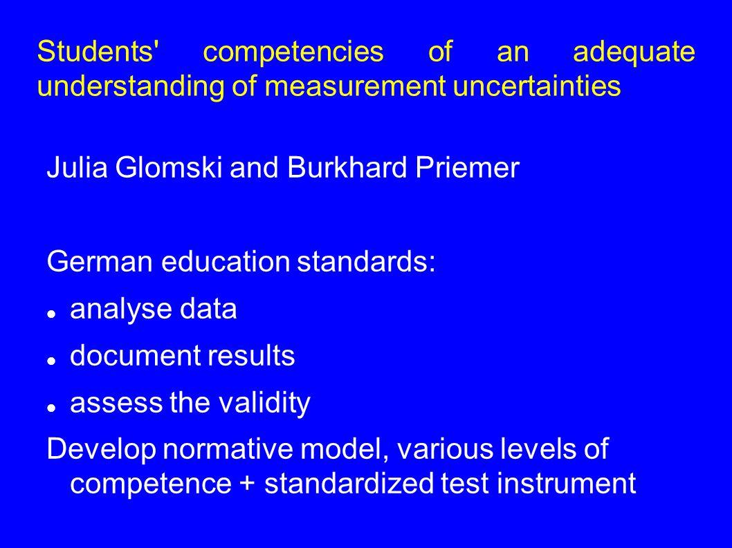 Students competencies of an adequate understanding of measurement uncertainties