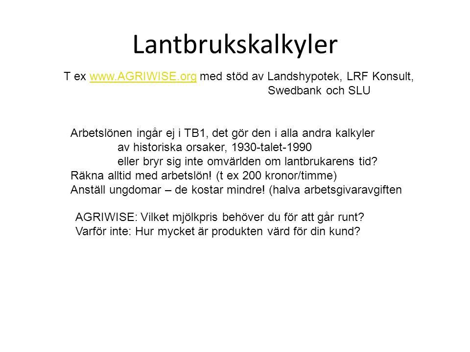 Lantbrukskalkyler T ex www.AGRIWISE.org med stöd av Landshypotek, LRF Konsult, Swedbank och SLU.