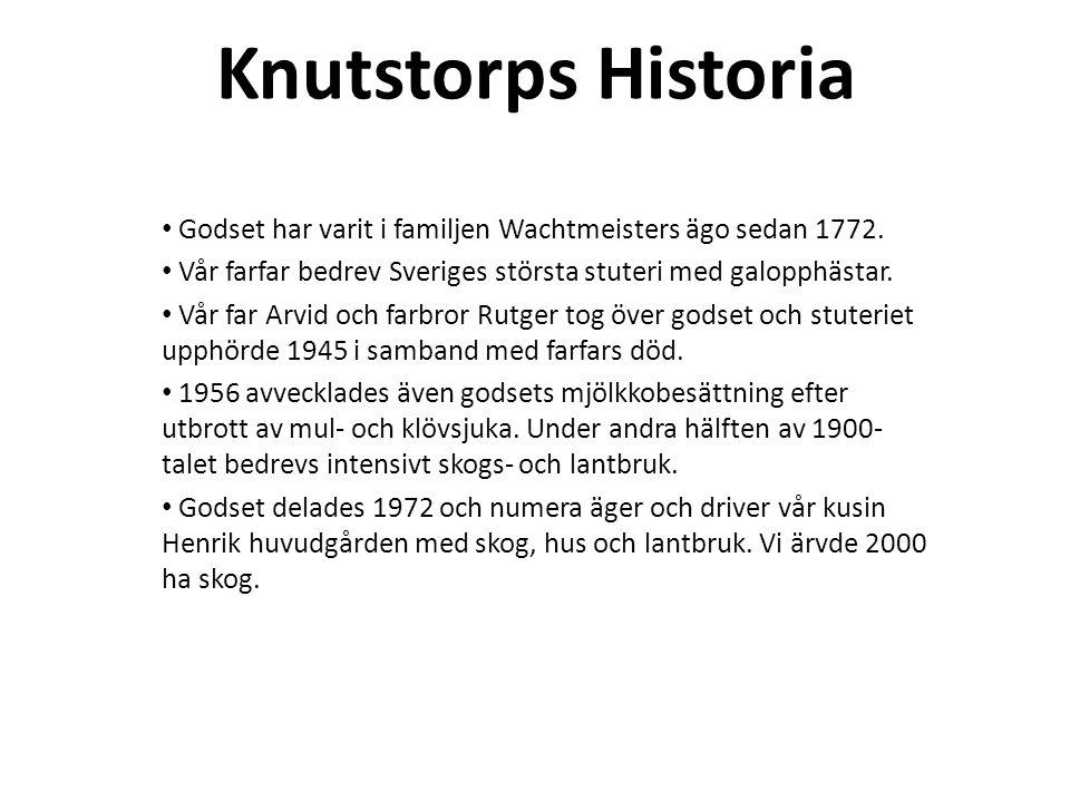 Knutstorps Historia Godset har varit i familjen Wachtmeisters ägo sedan 1772. Vår farfar bedrev Sveriges största stuteri med galopphästar.