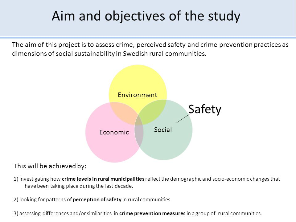 Aim and objectives of the study