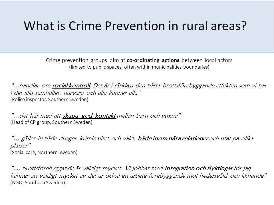 What is Crime Prevention in rural areas