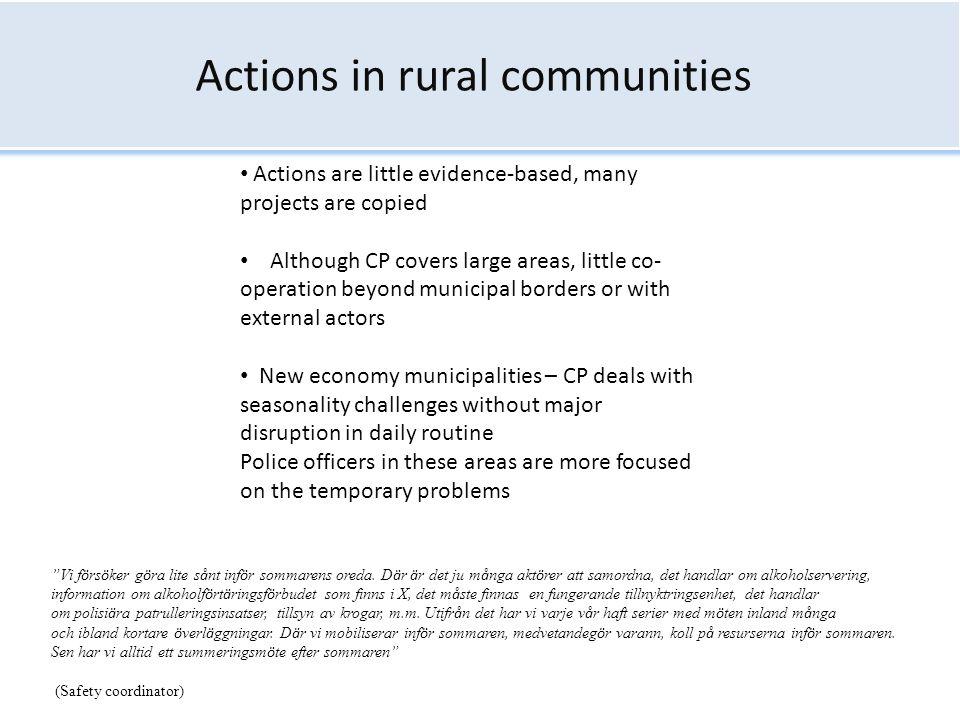 Actions in rural communities