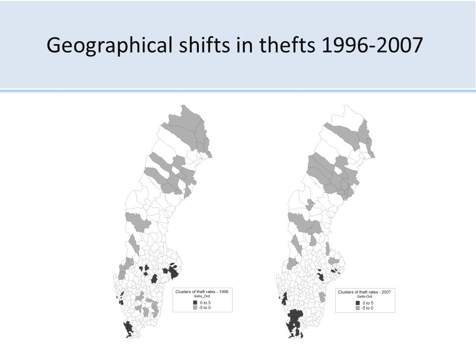 Geographical shifts in thefts 1996-2007