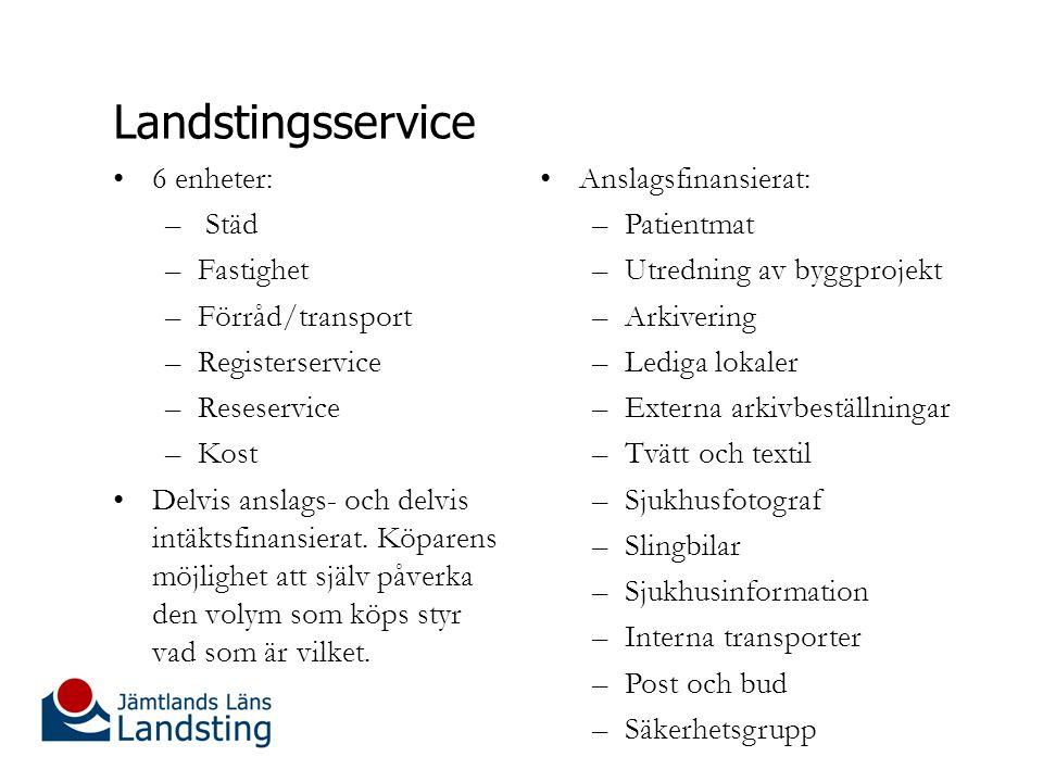 Landstingsservice 6 enheter: Städ Fastighet Förråd/transport