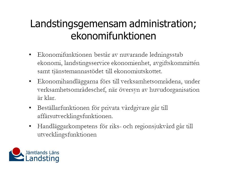 Landstingsgemensam administration; ekonomifunktionen