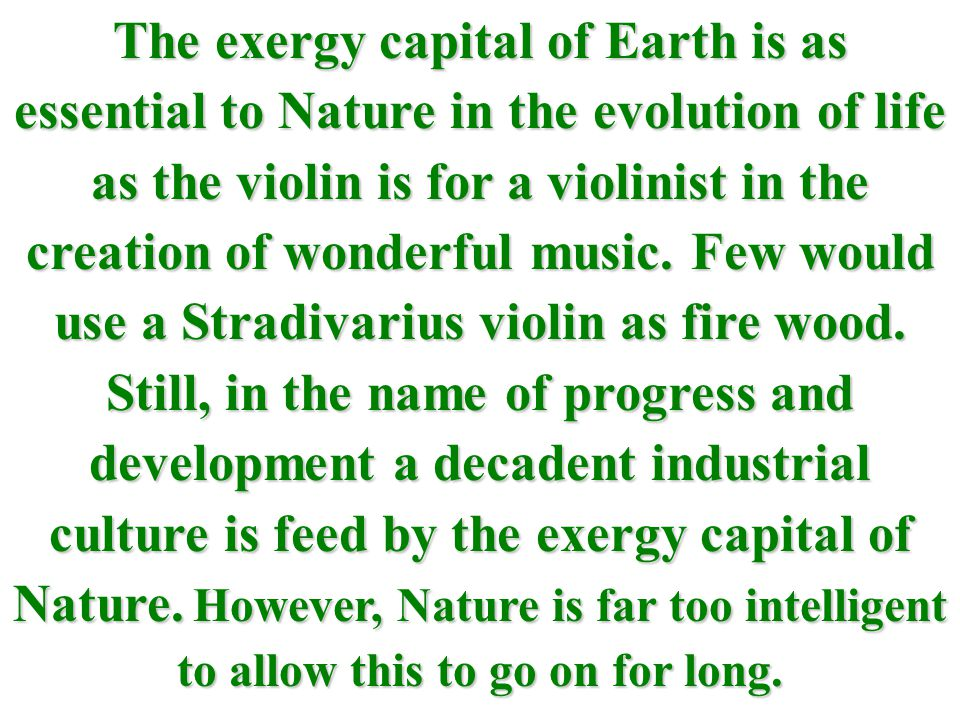 The exergy capital of Earth is as essential to Nature in the evolution of life as the violin is for a violinist in the creation of wonderful music.
