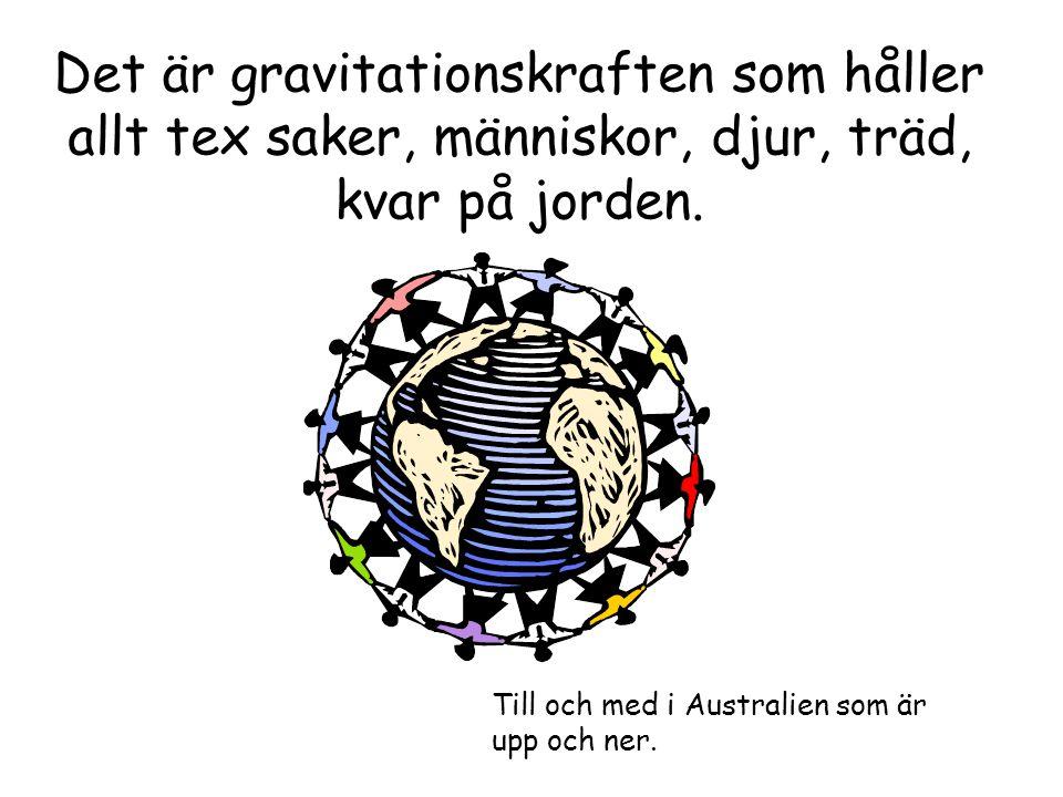 Det är gravitationskraften som håller allt tex saker, människor, djur, träd, kvar på jorden.