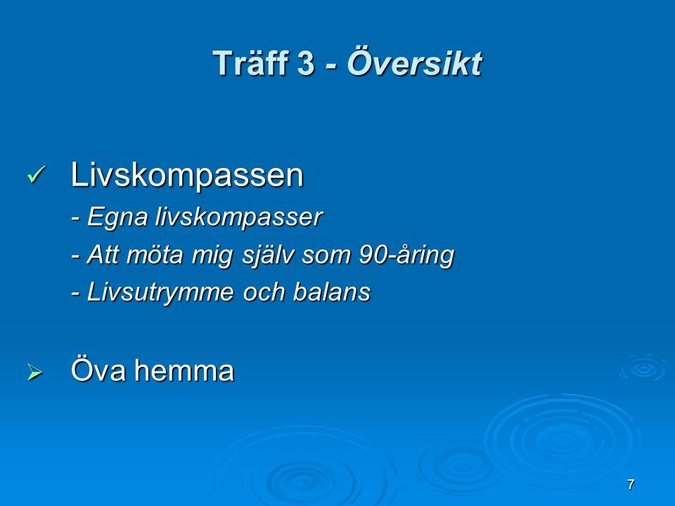 Träff 3 - Översikt Livskompassen Öva hemma - Egna livskompasser