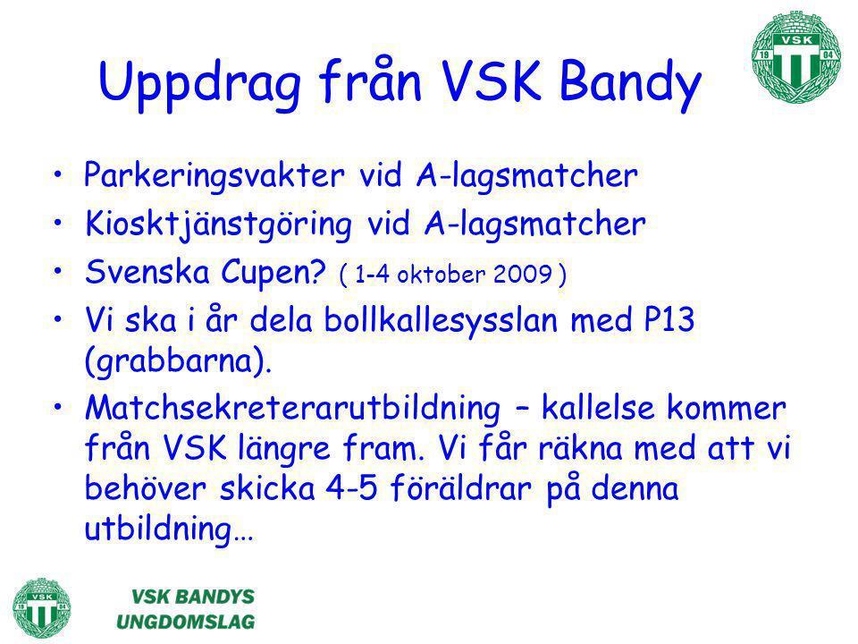 Uppdrag från VSK Bandy Parkeringsvakter vid A-lagsmatcher