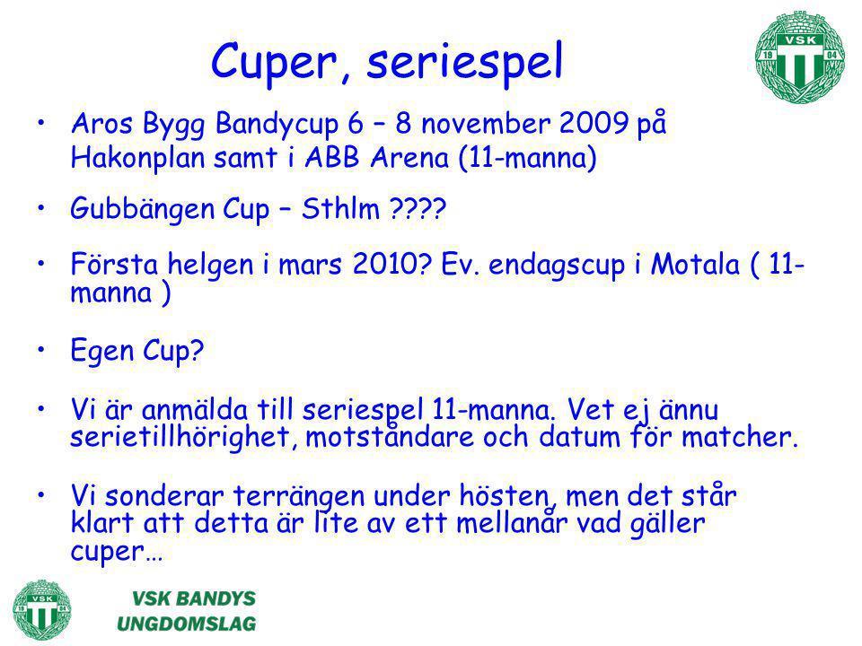 Cuper, seriespel Aros Bygg Bandycup 6 – 8 november 2009 på