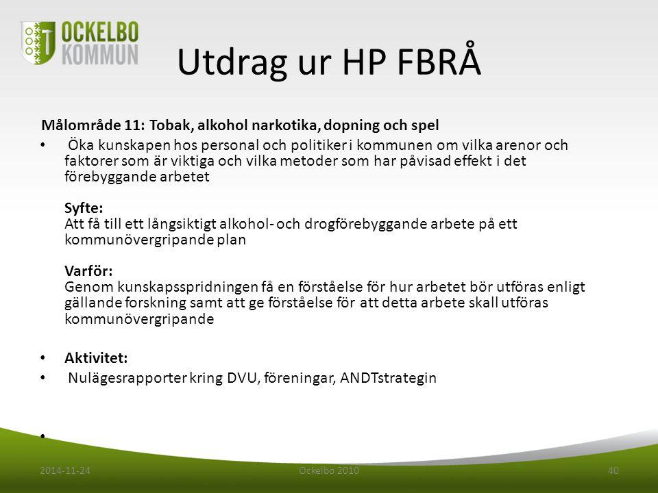 Utdrag ur HP FBRÅ Målområde 11: Tobak, alkohol narkotika, dopning och spel.